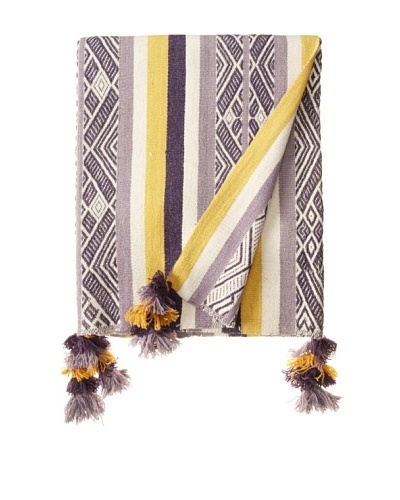 Nomadic Thread Society Patacancha Manta/Throw, Lavender/Grey/Gold