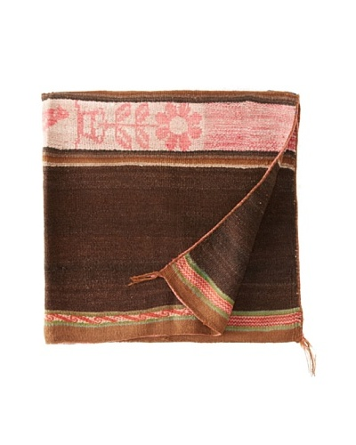 Nomadic Thread Society Peruvian Vintage Throw, Brown/Pinks/White, 40 x 40As You See