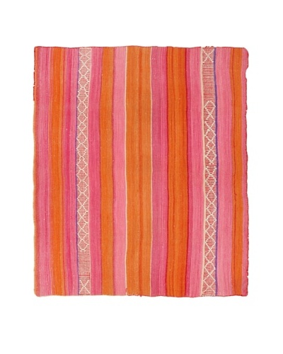 Nomadic Thread Society Handwoven Peruvian Rug, Pink/Orange, 56.5 x 50.5As You See