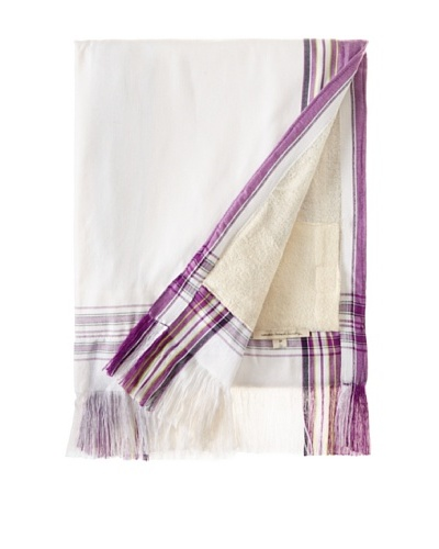 """Nomadic Thread Society Fringed Surf Sarong Towel, White/Purple, 69"""" x 43"""""""
