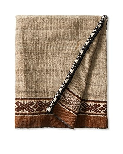 Nomadic Thread Society Peruvian Vintage Manta Throw, Earth Tone/Pink