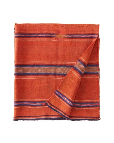 Nomadic Thread Society Peruvian Vintage Throw, Orange/Blue, 36 x 32As You See