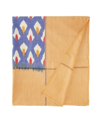 Nomadic Thread Society Double Ikat Bed Cover, Blue/Red/Mustard Detail, QueenAs You See