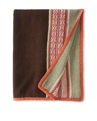 Nomadic Thread Society Peruvian Manta/Throw, Chocolate/Orange/Seafoam
