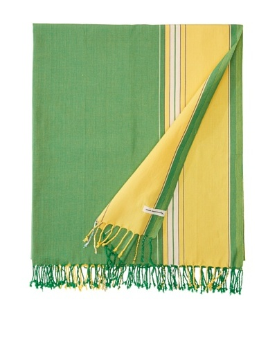 Nomadic Thread Society East African Throw, Parrot Green/Yellow, 90x60