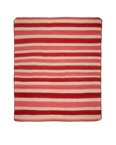Nomadic Thread Society Handwoven Peruvian Rug, Pink, Red/White, 69.5 x 60