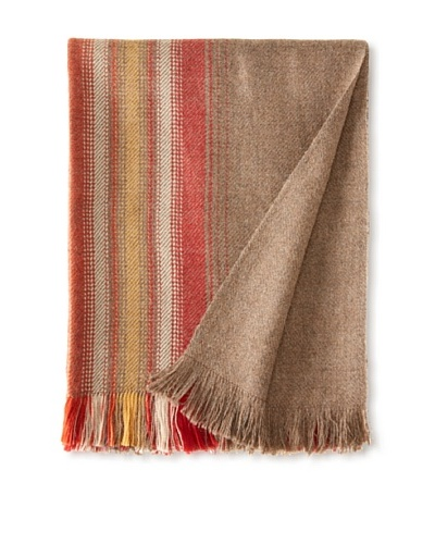 Nomadic Thread Society Alpaca Blanket, Warm Taupe/Red/Pink/Gold