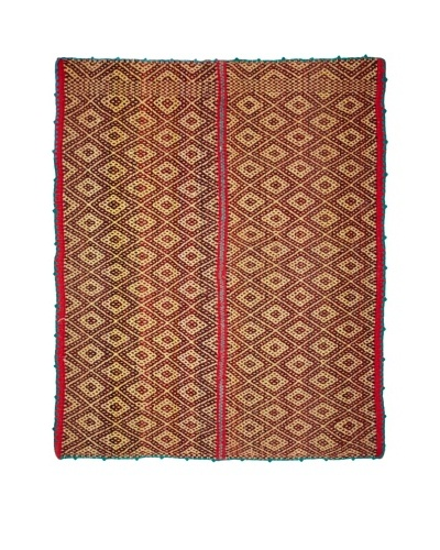 Nomadic Thread Society Handwoven Peruvian Rug, Maroon/Light Yellow/Turquoise, 65.5 x 54