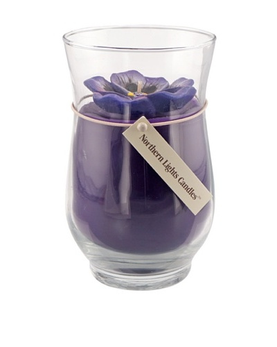 Northern Lights 18-Oz. Purple Pansy Floral Vase Candle