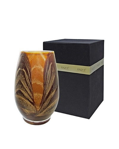 Northern Lights Candles Esque Harmony Candle & Floral Vase, Mahogany/Caramel