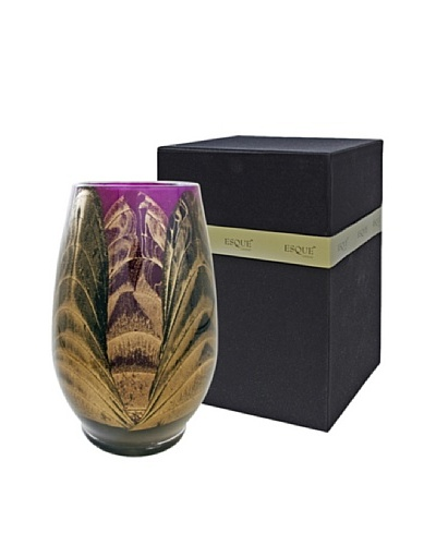 Northern Lights Candles Esque Harmony Candle & Floral Vase, Ebony/Amethyst
