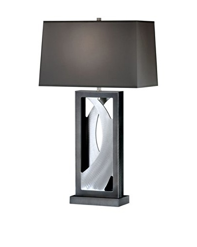 Nova Silver Wave Table Lamp, Brushed Aluminum