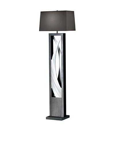 Nova Silver Wave Floor Lamp, Charcoal/Brushed Aluminum