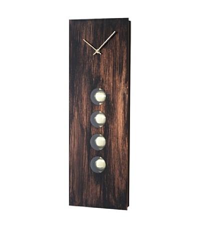 Nova Oakley Pendulum Wall Clock, Brushed Aluminum, Dark Brown