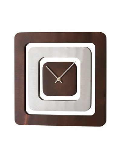 Nova Perimeter Wall Clock, Brushed Aluminum, Dark Brown