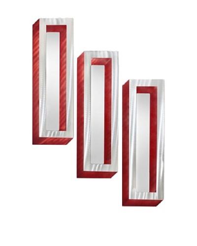 Nova Set of 3 Shadow Box Wall Mirrors, Brushed Aluminum/Red