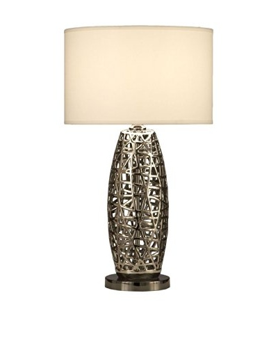 Nova Bird's Nest Oval Table Lamp, Chrome