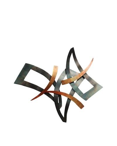Nova Sashay Wall Art-Blackened Steel,Flame Treated Copper, Multi