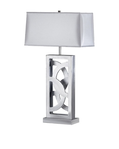 Nova Silver Circles Table Lamp, Brushed Aluminum
