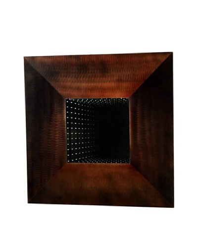 Nova Four Square Large Wall Mirror, Brushed Aluminum/Root Beer