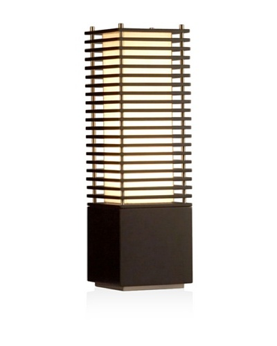 Nova Lighting Kimura Accent Table Lamp, Dark Brown & Brushed Nickel with Tan Linen Shade