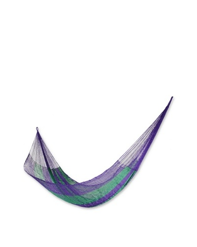 NOVICA Rope Double Hammock, Green Vineyard