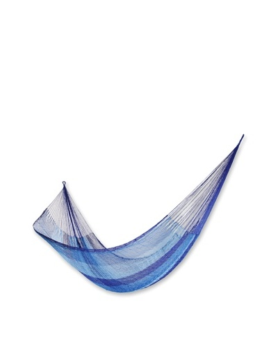 NOVICA Rope Hammock, Blue Caribbean
