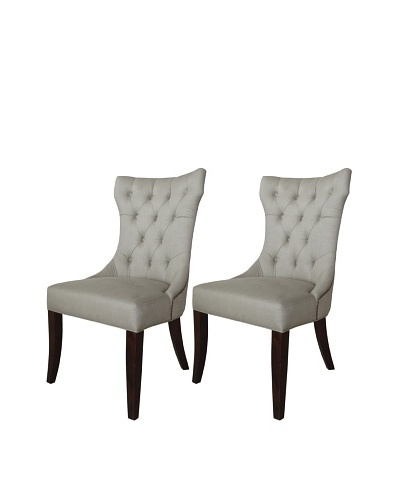 nuLOOM Set of 2 Corina Linen Upholstered Dining Chairs