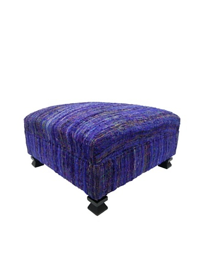 nuLOOM Contemporary Rainbow Sari Silk Ottoman