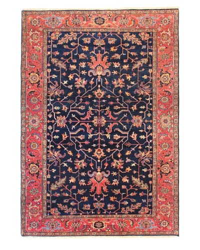 nuLOOM Hand-knotted Heriz Style Area Rug [Navy/Red]