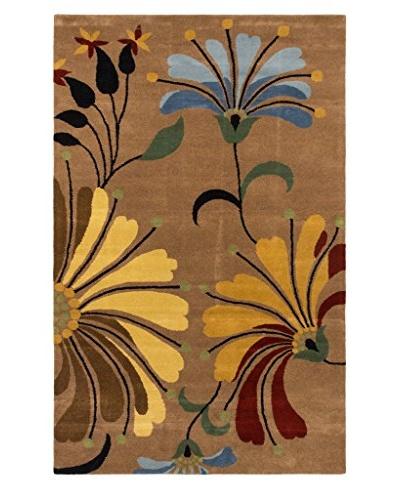 Oak Rugs Hand-Made Harmonia Wool Rug, Light Brown, 5' x 8'
