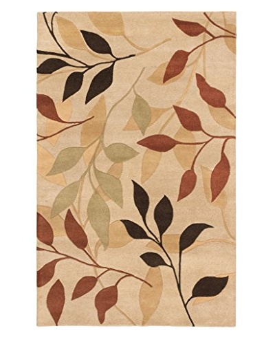 Oak Rugs Hand-Made Flora Wool Rug, Khaki, 5' x 8'