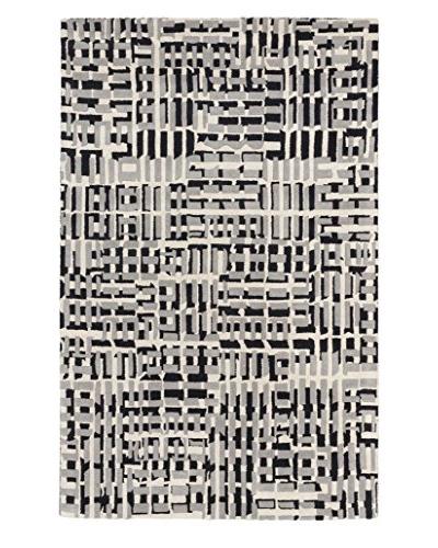 Oak Rugs Handmade Oleander Wool Rug, Black/Light Grey, 5' x 8'