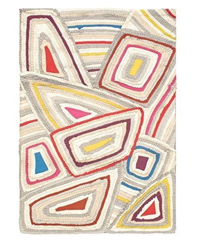 Oak Rugs Hand-Made Eternity Bold Wool Rug, Cream/Grey, 5' 5 x 7' 9