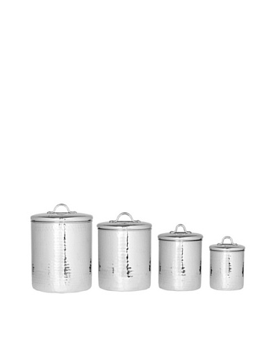 Old Dutch International Stainless Steel Hammered 4-Piece Canister Set