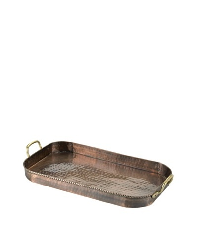 Old Dutch International Oblong Antique Copper Tray with Cast Brass Handles