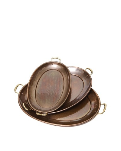 Old Dutch International Set of 3 Décor Antique Copper Oval Trays