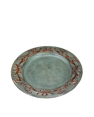 """Old Dutch International Art Nouveau 13"""" Plate Charger Plate, Verdigris/Coppertone"""
