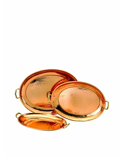 Old Dutch International Set of 3 Antique Copper Oval Trays