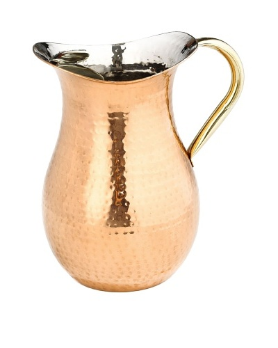 Old Dutch International 2.25-Qt. Décor Copper Hammered Water Pitcher with Brass Ice Guard & Handle