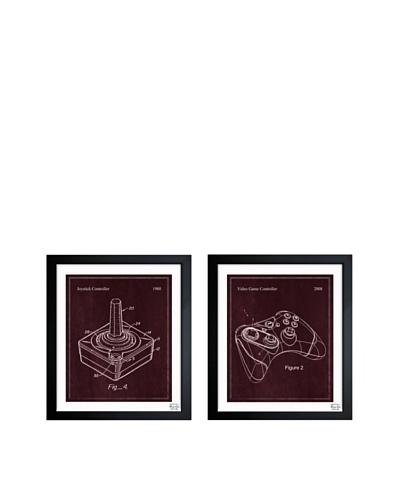 Oliver Gal Set of 2 Video Game Controllers Framed Art Print