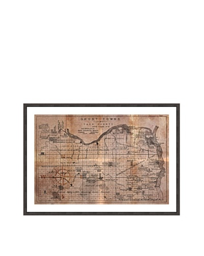 Oliver Gal Ghost Towns Map 1866 Framed Art Print