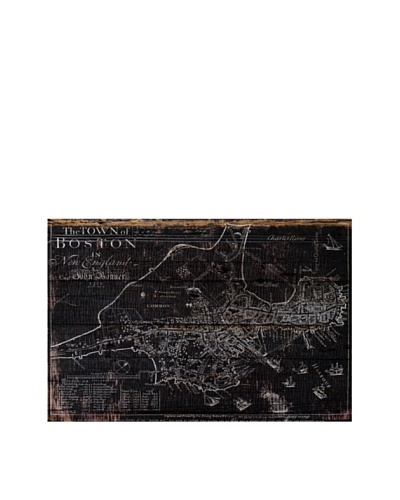 Oliver Gal 'Town of Boston Map 1722' American Reclaimed Wood Wall Art