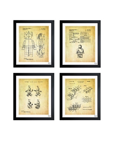 Oliver Gal 'Lego Toys Pack of Four' Framed Print