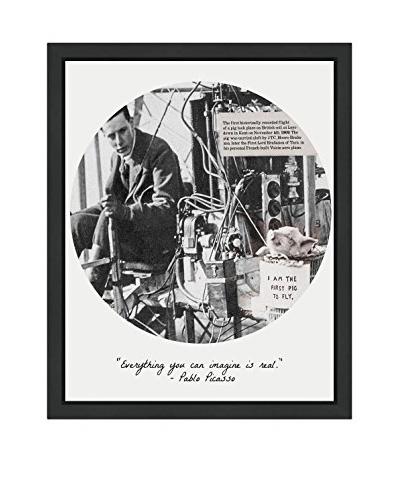 """Oliver Gal """"First Pig To Fly"""" Framed Art"""
