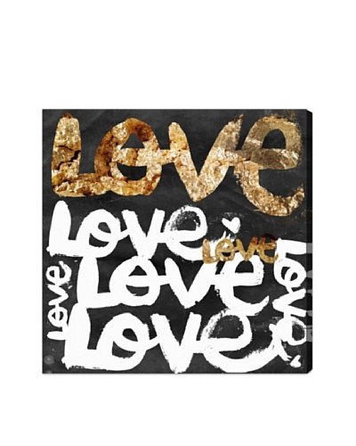 Oliver Gal Four Letter Word Gold Canvas Art