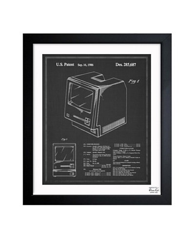Oliver Gal 'Apple Macintosh 128K 1986 - Noir' Framed Print