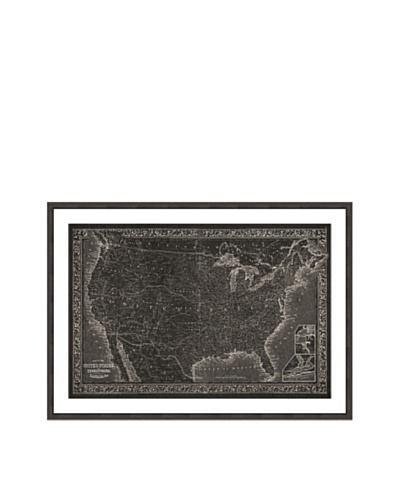 Oliver Gal United States of America Map 1864 Framed Art Print