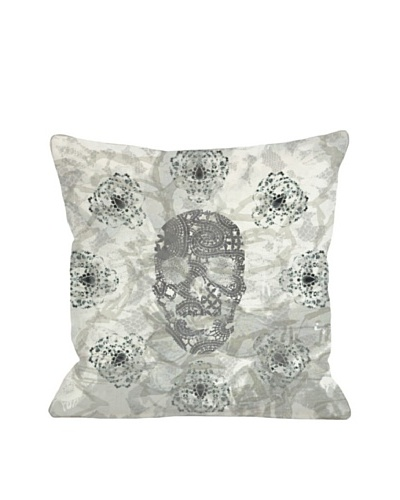 Oliver Gal by One Bella Casa Blair Skull Square Pillow, Gray