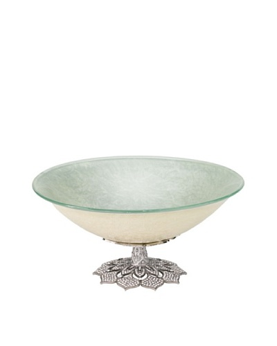 Olivia Riegel Large Windsor Glass Bowl with Swarovski® Crystals and Pearl Enamel, Silver/Pearl